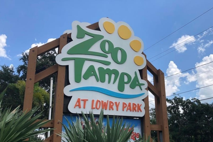 Eingangschild vom Tampa Zoo at Lowry Park in Florida